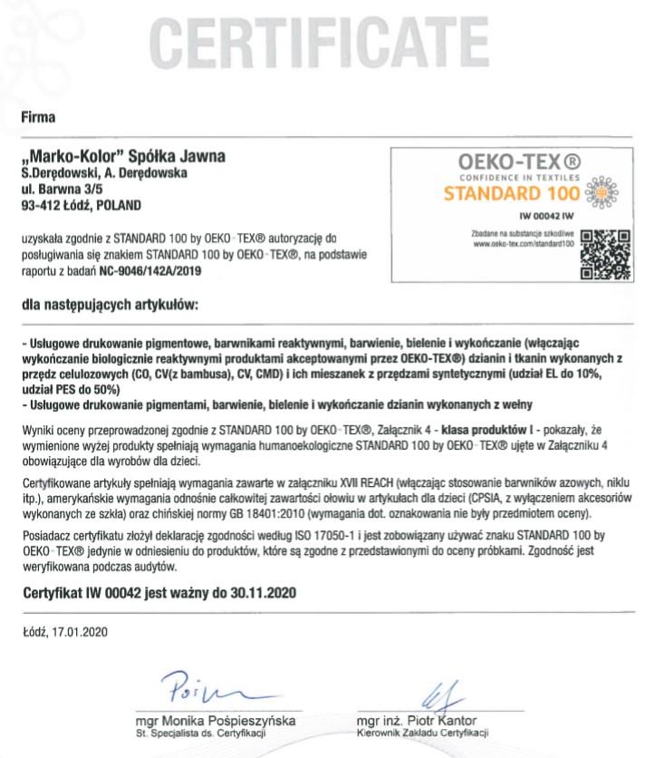 Certyfikat OEKO-TEX IW42